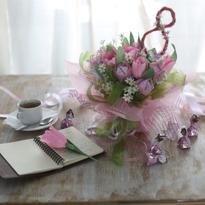 Готовая композиция тюльпанов своими руками